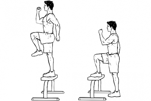 Step Up with Knee Raises